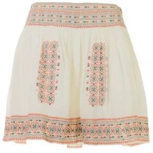 New embroidered linen Joie Shandon porcelain skirt